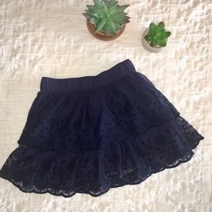 Navy Blue Multi-tiered Lace Skirt